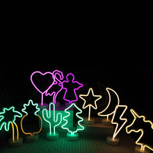 Neon Lamp LED Light with Holder Base for Party Supplies Removable Home Table Decoration Lamp for Kids Room Night Light 11 Styles(China)