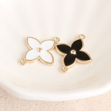 10PCS Enamel Connector Lucky Four-leaf Clover Charms Bracelet Pendant Drop Oil Grass DIY Earring Jewelry Handmade Craft YZ084(China)