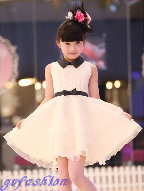2016 Girls Princess White Dress With Belt Lace For Wedding 5-16y Big Size Casual Kids Children Dresses New Fashion TA004