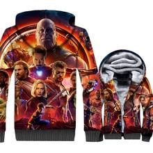 New The Avengers Hoodie Mens Super Hero Jacket Men Steven Rogers Thor Thanos Coat 2018 Winter Thick Fleece Warm Streetwear