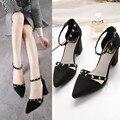 Women Pointed Toe High Heels Fashion Rivet Chunky Heel Cross straps Black Gray Women Pumps HSB11