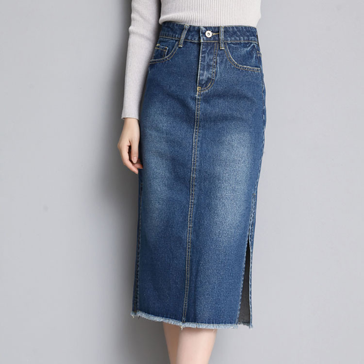 7b187a1d02a4c 2018 Denim Skirt Women Plus Size Casual High Waist A Line Skirts Pencil  Stretch Slim Hip jean Skirt Long Bodycon Skinny Female-in Skirts from  Women s ...