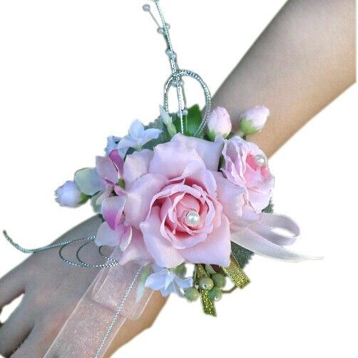 Rosa Braut Handgelenk Corsage Hochzeit Party Prom Brautjungfer
