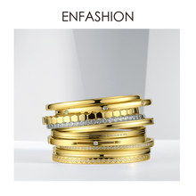 Enfashion Multilayer Cuff Bracelet Bangle Crystal Bangles Gold Color Stack Bracelets Bangles For Women Jewelry Wholesale 182004(China)