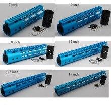 """Hot 7''9''10''12''15 """"Panjang Ultralight Slim Keymod Percuma Handguards Terapung Terapung Depan Sistem Gunung Rail Blue Anodized"""