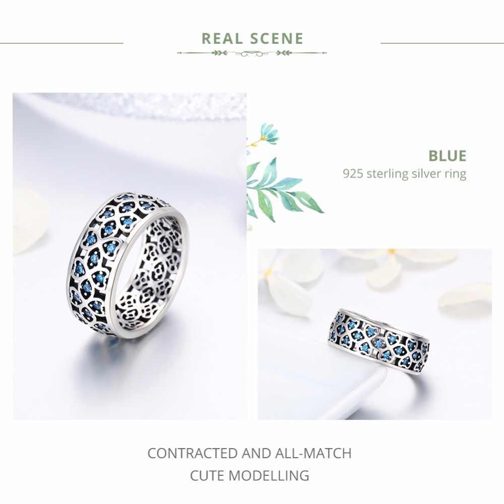 BAMOER 100% 925 เงินสเตอร์ลิงกลีบกุหลาบรักหวานClover CZแหวนนิ้วมือสำหรับเครื่องประดับหมั้นผู้หญิงS925 ของขวัญSCR064