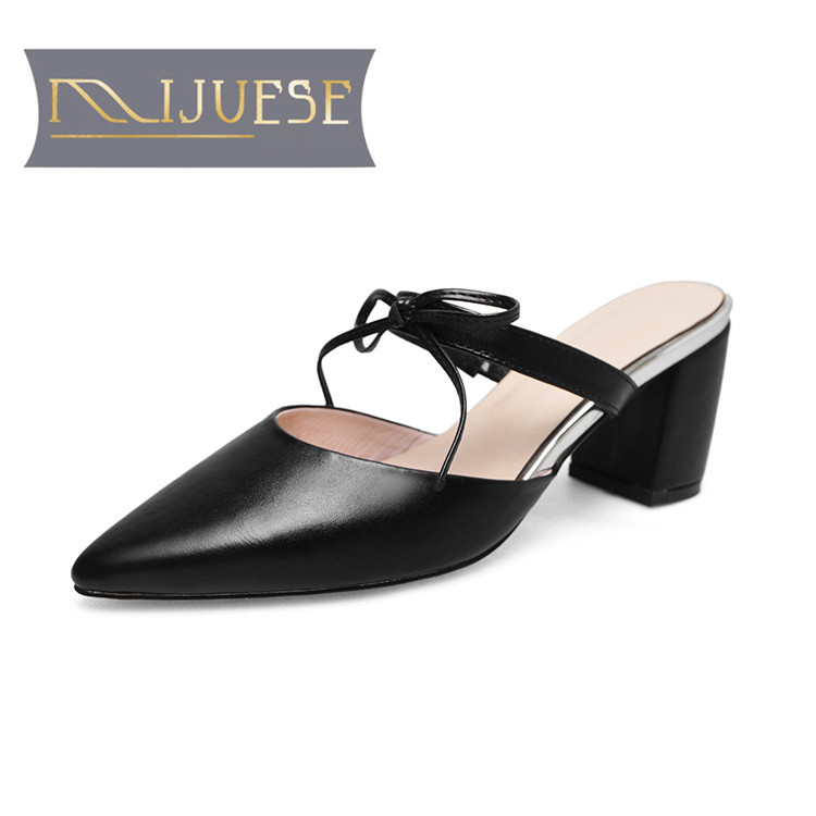 MLJUESE 2018 women slippers Genuine leather cow leather Black color pointed toe high heels sandals mules women size 34-43 цены онлайн