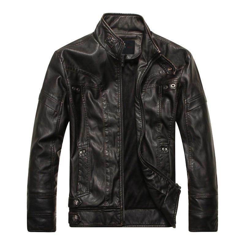 DHfinery 겨울 가죽 자켓 남자 스탠드 칼라 슬림 PU 오토바이 자켓 망 검정색 노란색과 갈색 재킷과 코트 8805