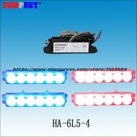 HA 6L5 4 High power LED Strobe Warning Light,Police/ Vehicle red&blue Emergency 6W Warning Light,DC12VCar grill/head light