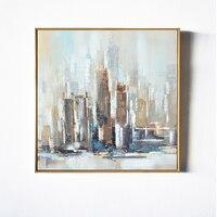 Нью Йорк современный город Архитектура абстрактная стена Книги по искусству ручной работы набор картина маслом холст печатает дома Гостин