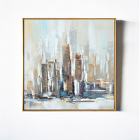 New York Modern City Architecture Abstract Wall Art Handmade Oil Painting Set Canvas Prints Home Living Room Bedroom Decoration