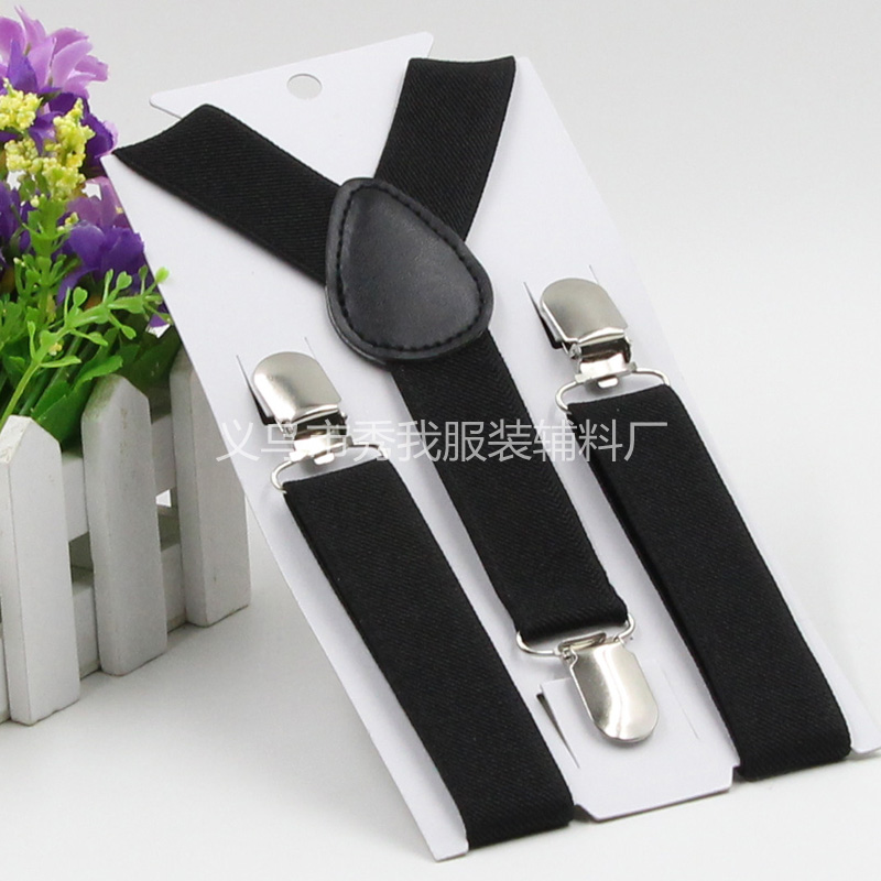 Plain Colors Kids Suspenders Adjustable Y back Braces Clip on Elastic Suspender Children Baby Straps Belt