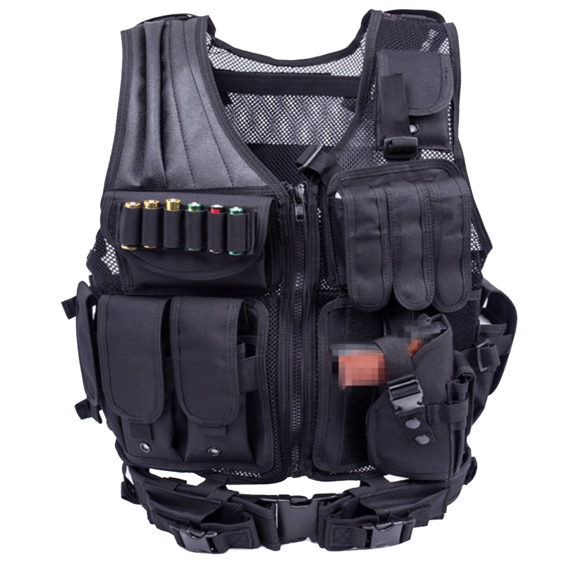 TAK YIYING Tactical Molle Vest Military Assault Vest Protective Airsoft Hunting Training Vest CS Field Clothes Vest Black airsoft adults cs field game skeleton warrior skull paintball mask