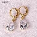 Fashion  Gold Plated White Crystals Zircon CZ Drop Dangle Earrings for Women Fashion Luxury Long Dangle Earrings Jewelry E010