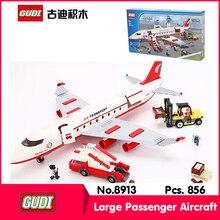 GUDI 8913 856Pcs Technic Series Large Passenger Aircraft Model Building Blocks Set Bricks Toy Compatible  Gift Kid Toys