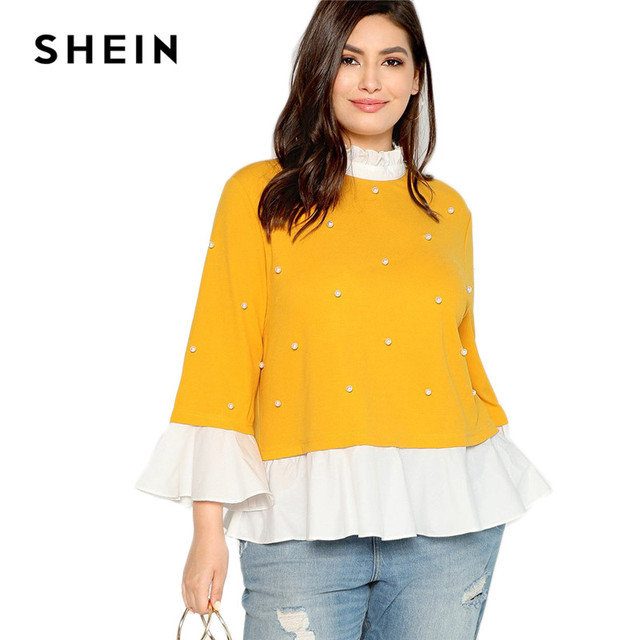 SHEIN Pearl Beaded Ruffle Stand Collar Butterfly Sleeve Ginger Plus Size Womens Blouse 2018 Patchwork Ruffle Hem Autumn Blouse 5