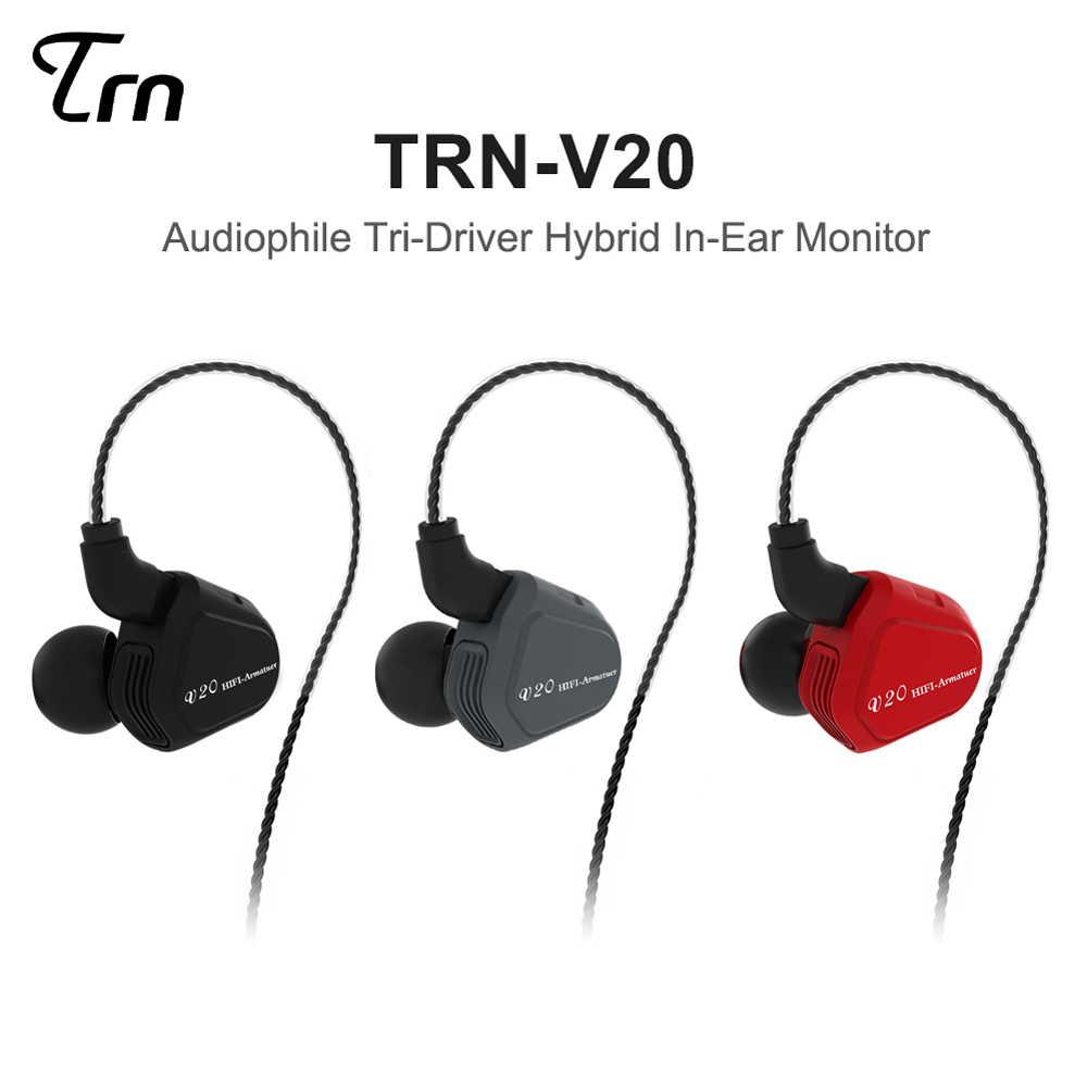 2018 Newest TRN V20 1DD+1BA Hybrid In Ear Earphone HIFI DJ Monito Running Sport Earphone Earplug Headset With 2PIN Detachable