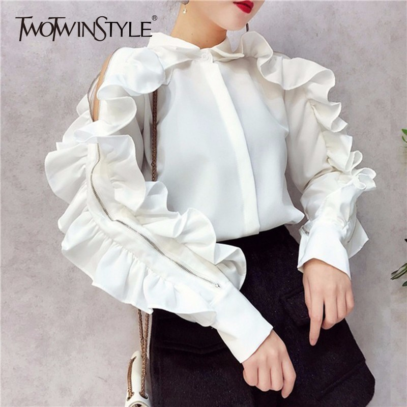 TWOTWINSTYLE Ruffles Blouse Female Lapel Collar Off Shoulder Patchwork Zipper Long Sleeve White Shirt Women 2020 Spring Korean