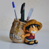 Anime One Piece Luffy Resin Action Figure Office Desk Pen Holder Collectible Miniature Figurines Kids Boy