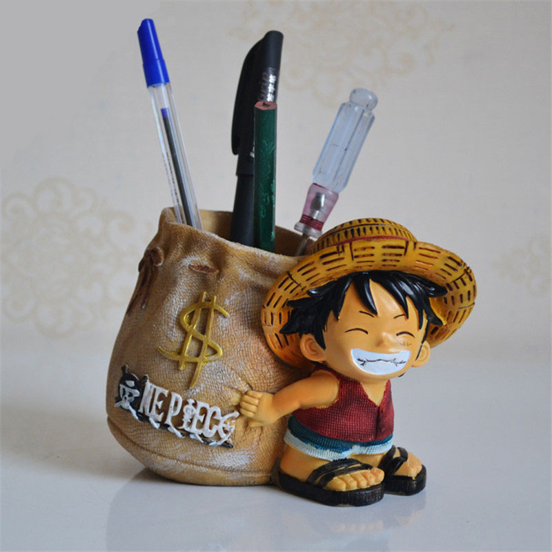 Anime One Piece Luffy Resin Action Figure Office Desk Pen Holder Collectible Decoration Action Figurines Boy Toys Creative Gifts