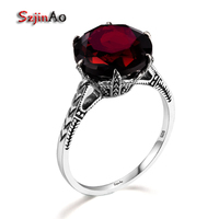 Szjinao Fashion Flower Shiny Red Stone Rings For Women 925 Sterling Silver Charms Engagement Jewelry Promise