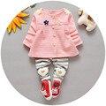 Sistemas del bebé Bebé Ropa de Las Muchachas 2016 de La Moda de Primavera Ropa de Bebé Recién Nacido Floral Set 3-24 M Ropa de Algodón Completo con Pantalones V30