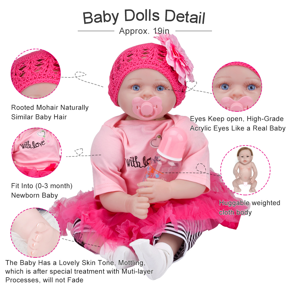 Image 3 - 55cm Realistic Reborn Baby Doll Soft Silicone Stuffed Lifelike Baby Doll Toy Ethnic Doll For Kids Birthday Christmas Gifts-in Dolls from Toys & Hobbies