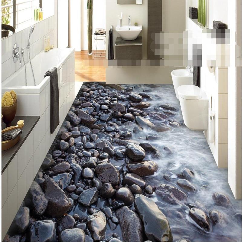 Floor mural HD black stone coast Waterproof Bathroom