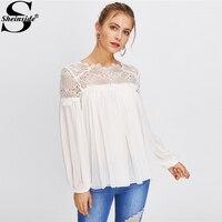 Sheinside 2018 Long Sleeve Blouse White Round Neck Contrast Lace Elegant Top Women Guipure Lace Yoke