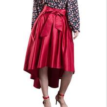 111c83d8a831 Wine Red Bowknot Front High Waist High Low Midi Skirt Pleated Fall A Line  Vintage Skater Spring Autumn Women Elegant Clothing