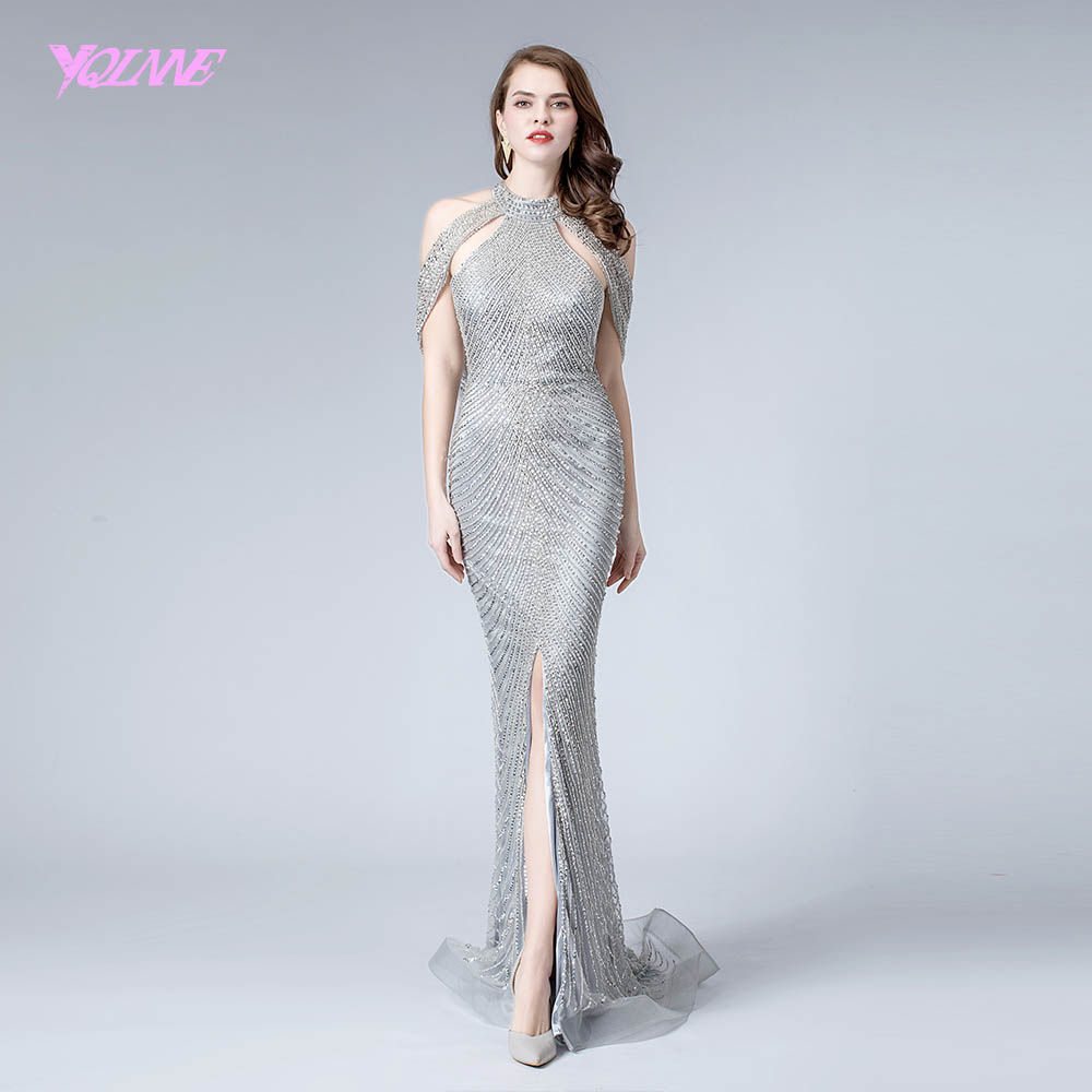 YQLNNE 2019 Silver Crystals Beads Long   Evening     Dress   Formal   Evening   Gown Mermaid   Dresses