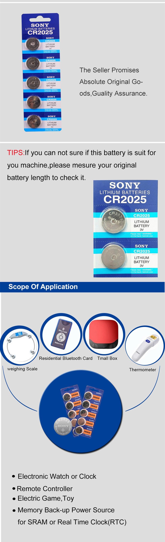 Célula Baterias cr2025 3V Lithium Coin Bateria