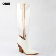 Women Boots Autumn Summer Shoes Pointed Toe Fashion Knee High PU Leather Heel PVC Transparent White Ladies Bota