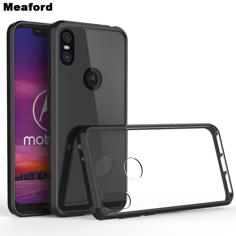For <font><b>Motorola</b></font> Moto One <font><b>Vision</b></font> <font><b>Case</b></font> TPU Bumper Hard PC Acrylic Clear Hybrid Crystal Phone Cover For Moto One Macro Action Power image