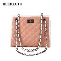 HuckLuto Promotion Sale Korean Fashion Luxury Chain Diamond Lattice Shoulder Messenger Geometric Bag Set Leather Female Handbag