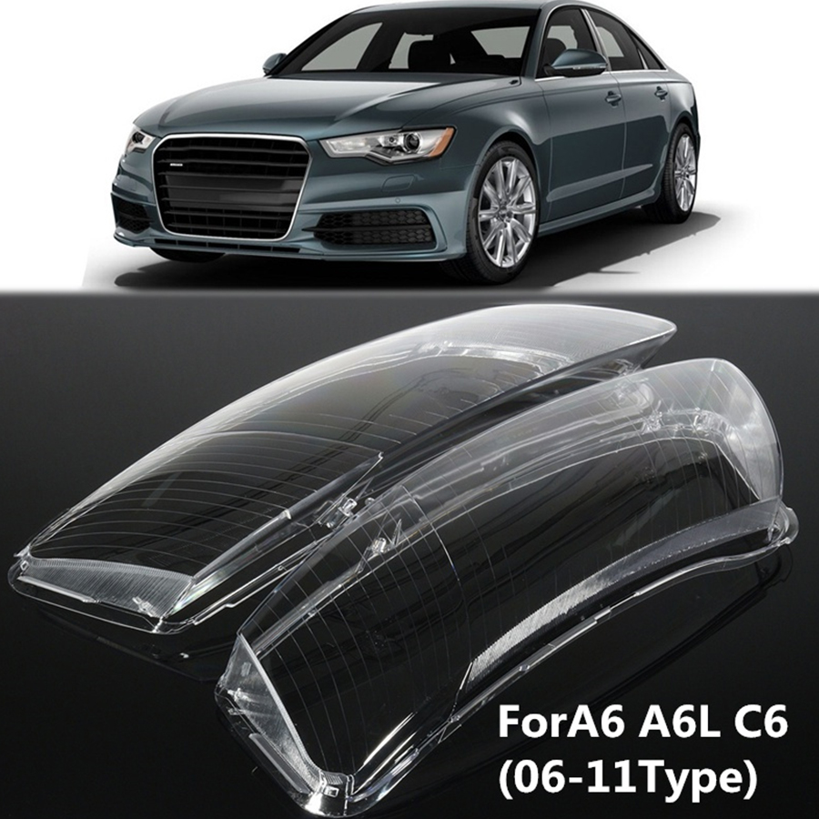 Pair Headlight Lens Lampshade PC Shell Cover Car Housing Right&Left Replacement Lamp Assembly For Audi A6 A6L C6 High Quality high quality 1 pair right