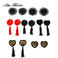 2pcs/set New Sexy Self Adhesive Sequin Black Red Leopard Tassel Cover Heart Shape Bra Nipple Cover Pasties Breast Petals Sex toy