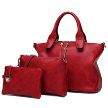 3 Unids/set Vintage Bolsos Mujeres Messenger Bags Mujer Bolso Bolsas de Hombro Sólido Oficina de Señora Casual