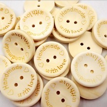 Geinne 100 шт натуральный цвет деревянные пуговицы ручной работы Письмо Любовь Скрапбукинг для свадебного декора 25 мм