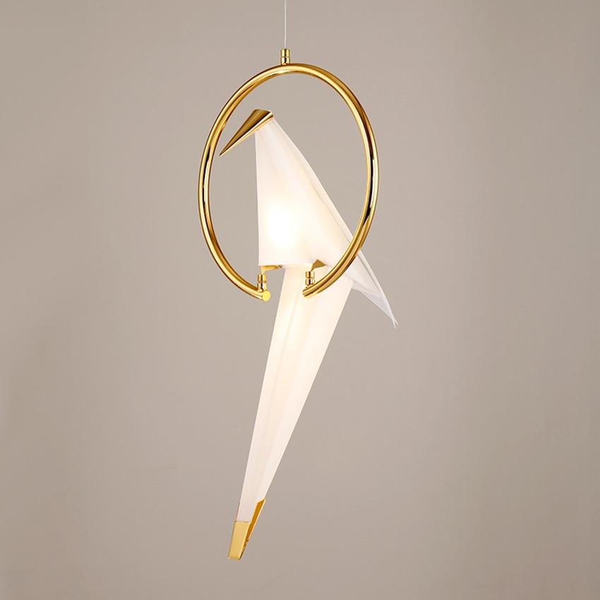 Modern creative bird pendant lamp Nordic design bedroom balcony restaurant luminair thousand paper crane hanging light