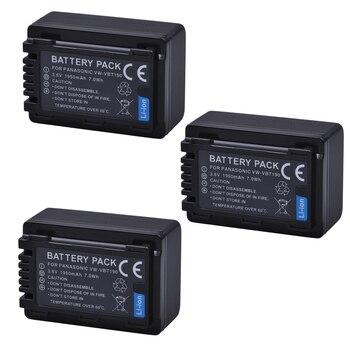 3Pcs VW-VBT190 VBT380 Batteries for Panasonic HC-V210, HC-V250, HC-V380, HC-V510, HC-V520, HC-V550, HC-V710, HC-V720, HC-V фото