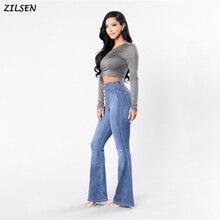 2019 брюки женские джинсовые расклешенные брюки прикладом элегантные женские брюки с вырезами и боти