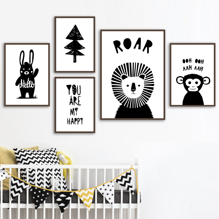 Cute Black /& White Monkey Nursery Print Baby Wall Art Picture Kids Room Poster