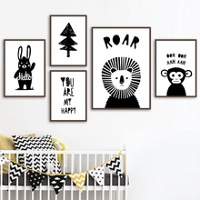 Lion Rabbit Monkey Tree Wall Art Canvas Painting Nordic Posters And Prints Black White Animal Pictures Baby Kids Room Decor