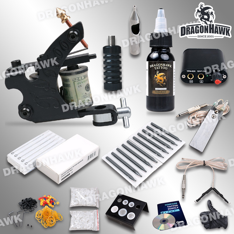 Complete beginner tattoo kit machine guns inks needles for Cheap tattoo supplies free shipping