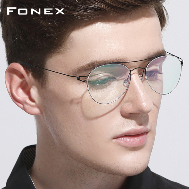 Titanium Optical Glasses Frame Men Ultralight Women New Aviation Myopia Prescription Eyeglasses Korean Denmark Screwless Eyewear