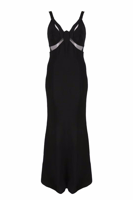 Sexy Élégant Long Parti Noir V Maille Designer Robe Luxe Bandage 2018 De Maxi Femmes Cou 1WcwEHCwq