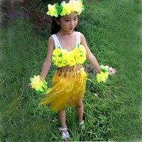 وصل جديد 1 مجموعة/وحدة الاطفال مجموعات تنورة هاواي حولا العشب هاواي تنورة الرأس حزب الديكور
