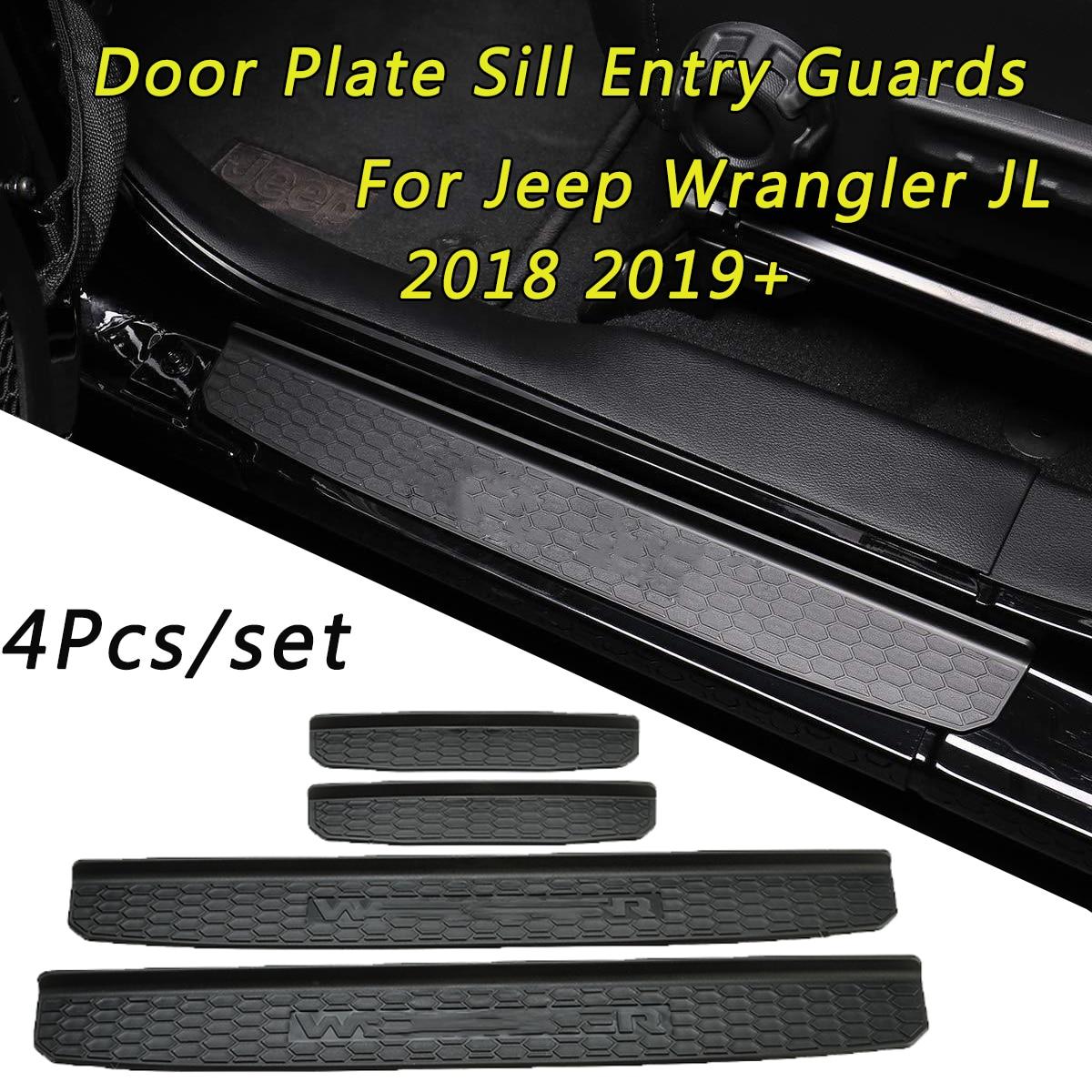 1 Set Door Plate Sill Entry Guards For Jeep Wrangler JL 2018 2019+ 4-Door Accessories Car Door Panels Car Styling1 Set Door Plate Sill Entry Guards For Jeep Wrangler JL 2018 2019+ 4-Door Accessories Car Door Panels Car Styling