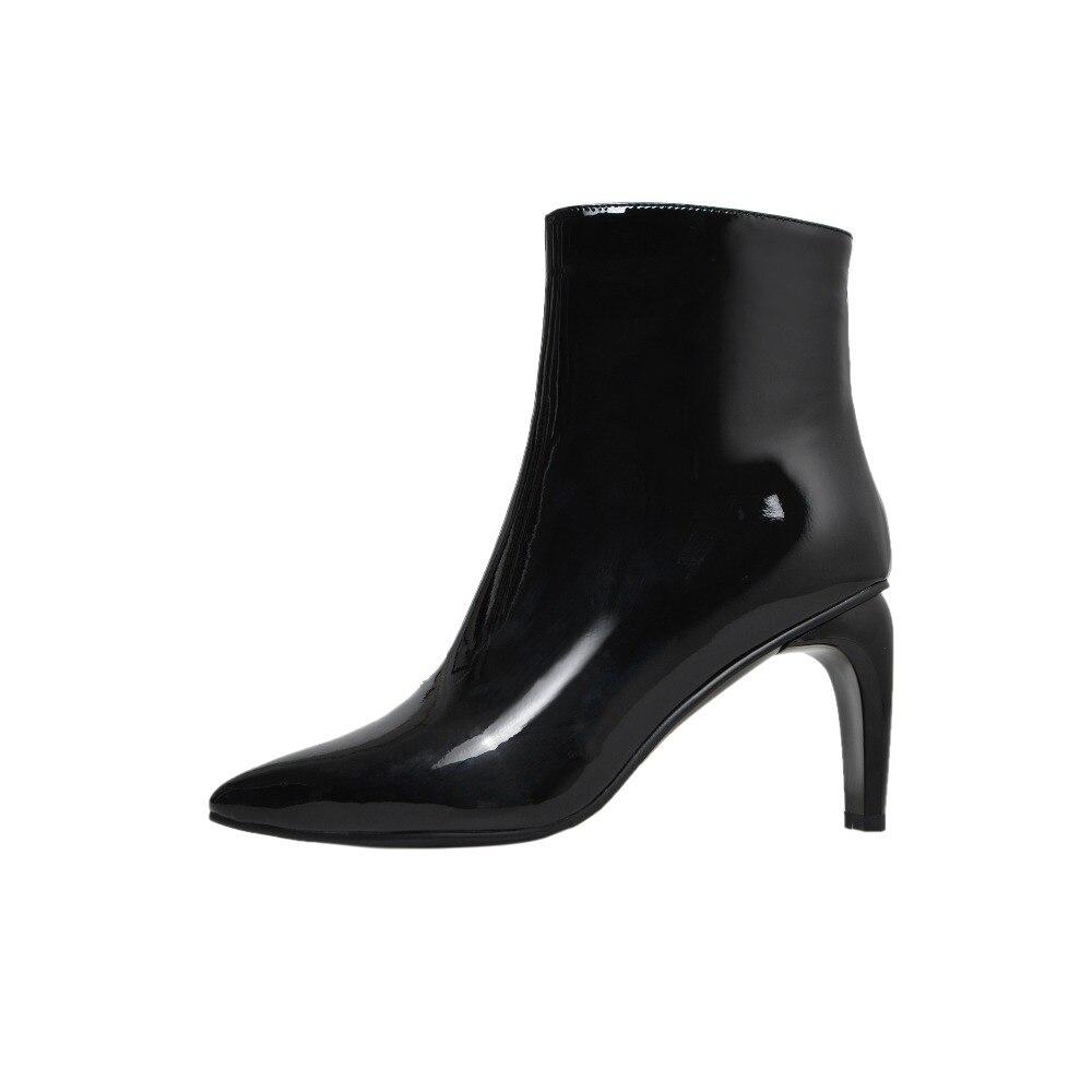 Blanco Cremallera De Sexy Del Conciso blanco Mujer Puntiagudo Negro Rojo Y Botas Zapatos Negro Invierno Dedo Pie rojo 2019 Madura Elegante Chunky El Moda Tacones En raHaqxE